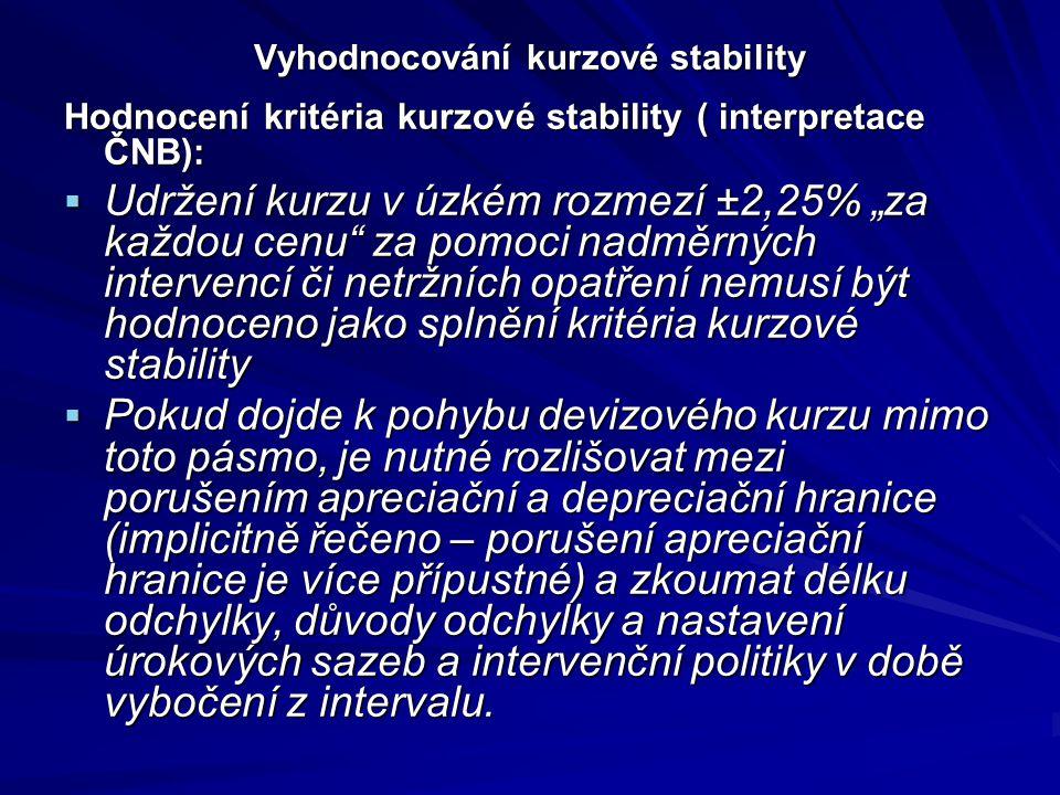 """Vyhodnocování kurzové stability Hodnocení kritéria kurzové stability ( interpretace ČNB):  Udržení kurzu v úzkém rozmezí ±2,25% """"za každou cenu za pomoci nadměrných intervencí či netržních opatření nemusí být hodnoceno jako splnění kritéria kurzové stability  Pokud dojde k pohybu devizového kurzu mimo toto pásmo, je nutné rozlišovat mezi porušením apreciační a depreciační hranice (implicitně řečeno – porušení apreciační hranice je více přípustné) a zkoumat délku odchylky, důvody odchylky a nastavení úrokových sazeb a intervenční politiky v době vybočení z intervalu."""