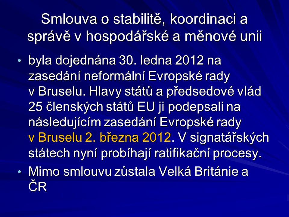 Smlouva o stabilitě, koordinaci a správě v hospodářské a měnové unii byla dojednána 30.