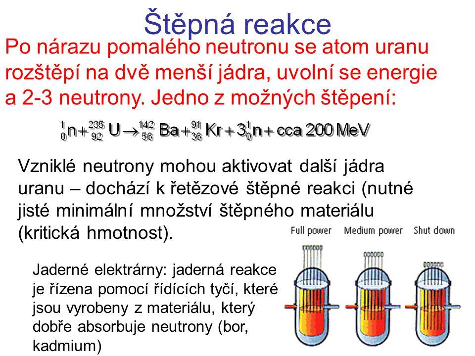 Štěpná reakce Po nárazu pomalého neutronu se atom uranu rozštěpí na dvě menší jádra, uvolní se energie a 2-3 neutrony.