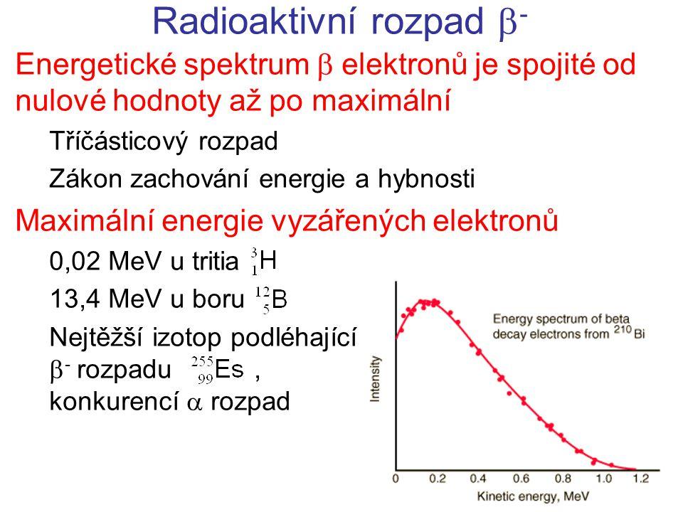 Radioaktivní rozpad  - Energetické spektrum  elektronů je spojité od nulové hodnoty až po maximální Tříčásticový rozpad Zákon zachování energie a hybnosti Maximální energie vyzářených elektronů 0,02 MeV u tritia 13,4 MeV u boru Nejtěžší izotop podléhající  - rozpadu, konkurencí  rozpad