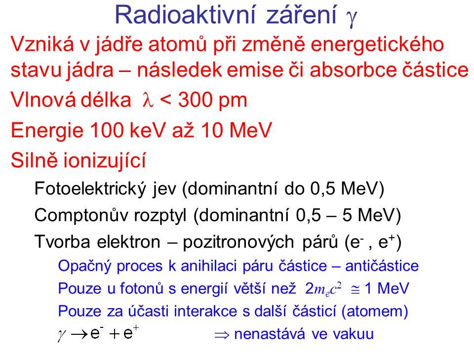 Radioaktivní záření  Vzniká v jádře atomů při změně energetického stavu jádra – následek emise či absorbce částice Vlnová délka  < 300 pm Energie 100 keV až 10 MeV Silně ionizující Fotoelektrický jev (dominantní do 0,5 MeV) Comptonův rozptyl (dominantní 0,5 – 5 MeV) Tvorba elektron – pozitronových párů (e -, e + ) Opačný proces k anihilaci páru částice – antičástice Pouze u fotonů s energií větší než 2 m e c 2  1 MeV Pouze za účasti interakce s další částicí (atomem)  nenastává ve vakuu