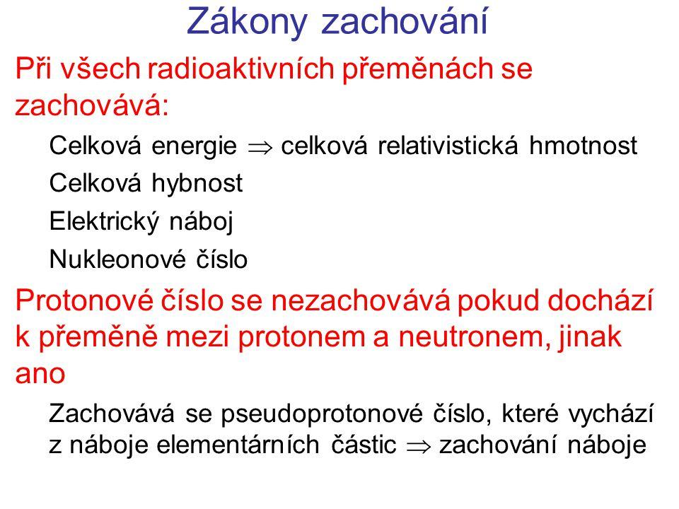 Zákony zachování Při všech radioaktivních přeměnách se zachovává: Celková energie  celková relativistická hmotnost Celková hybnost Elektrický náboj Nukleonové číslo Protonové číslo se nezachovává pokud dochází k přeměně mezi protonem a neutronem, jinak ano Zachovává se pseudoprotonové číslo, které vychází z náboje elementárních částic  zachování náboje