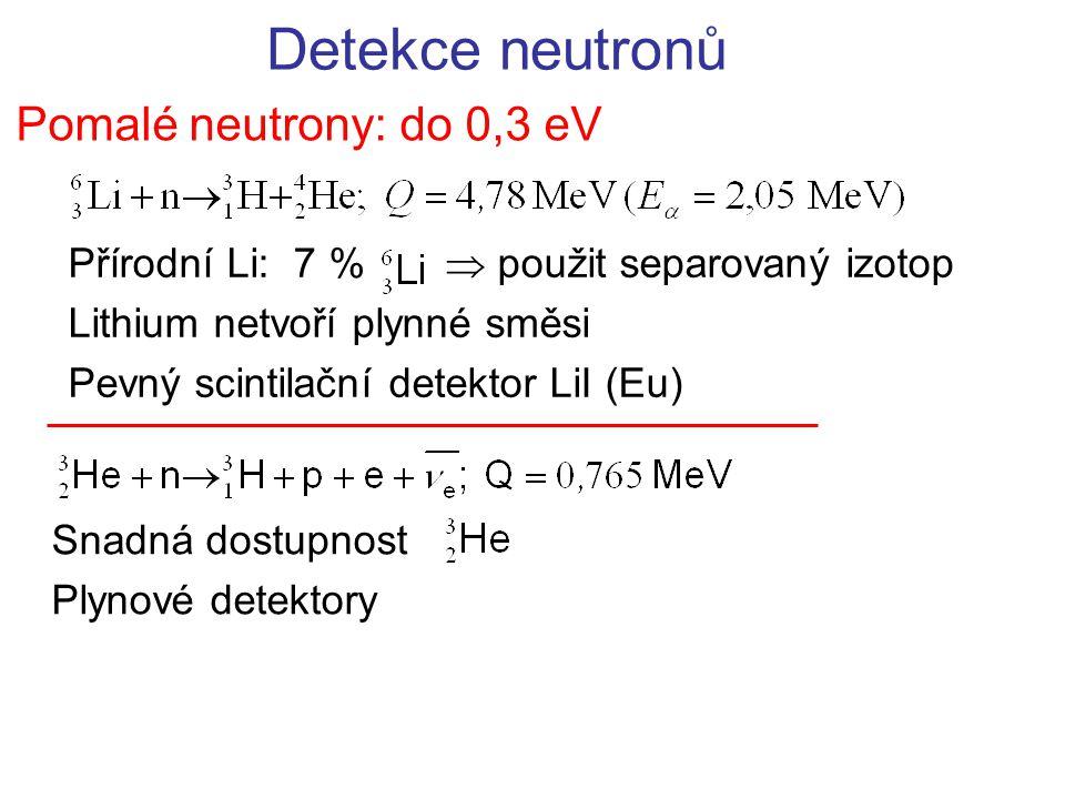 Detekce neutronů Pomalé neutrony: do 0,3 eV Přírodní Li: 7 %  použit separovaný izotop Lithium netvoří plynné směsi Pevný scintilační detektor LiI (Eu) Snadná dostupnost Plynové detektory