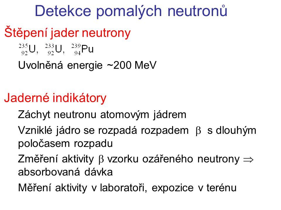 Detekce pomalých neutronů Štěpení jader neutrony Uvolněná energie ~200 MeV Jaderné indikátory Záchyt neutronu atomovým jádrem Vzniklé jádro se rozpadá rozpadem  s dlouhým poločasem rozpadu Změření aktivity  vzorku ozářeného neutrony  absorbovaná dávka Měření aktivity v laboratoři, expozice v terénu