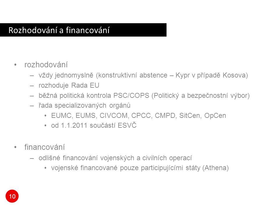 10 Rozhodování a financování rozhodování –vždy jednomyslně (konstruktivní abstence – Kypr v případě Kosova) –rozhoduje Rada EU –běžná politická kontro
