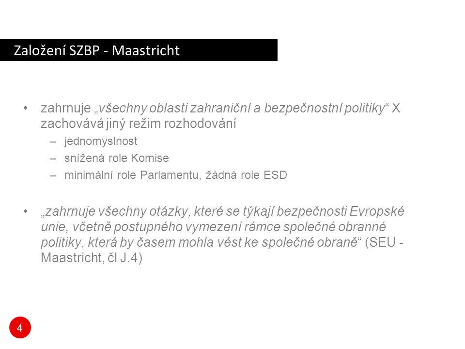"""4 Založení SZBP - Maastricht zahrnuje """"všechny oblasti zahraniční a bezpečnostní politiky"""" X zachovává jiný režim rozhodování –jednomyslnost –snížená"""