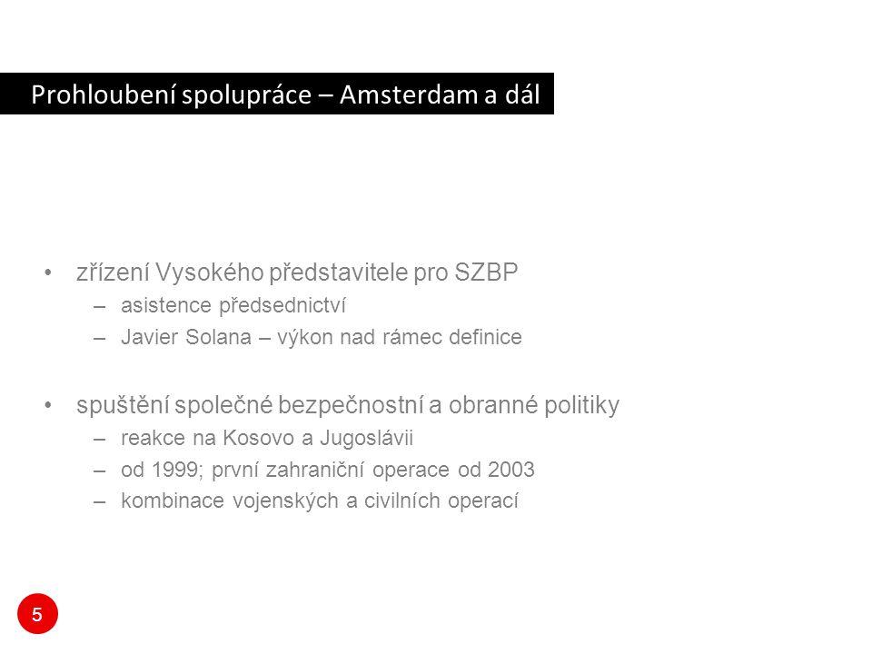 5 Prohloubení spolupráce – Amsterdam a dál zřízení Vysokého představitele pro SZBP –asistence předsednictví –Javier Solana – výkon nad rámec definice