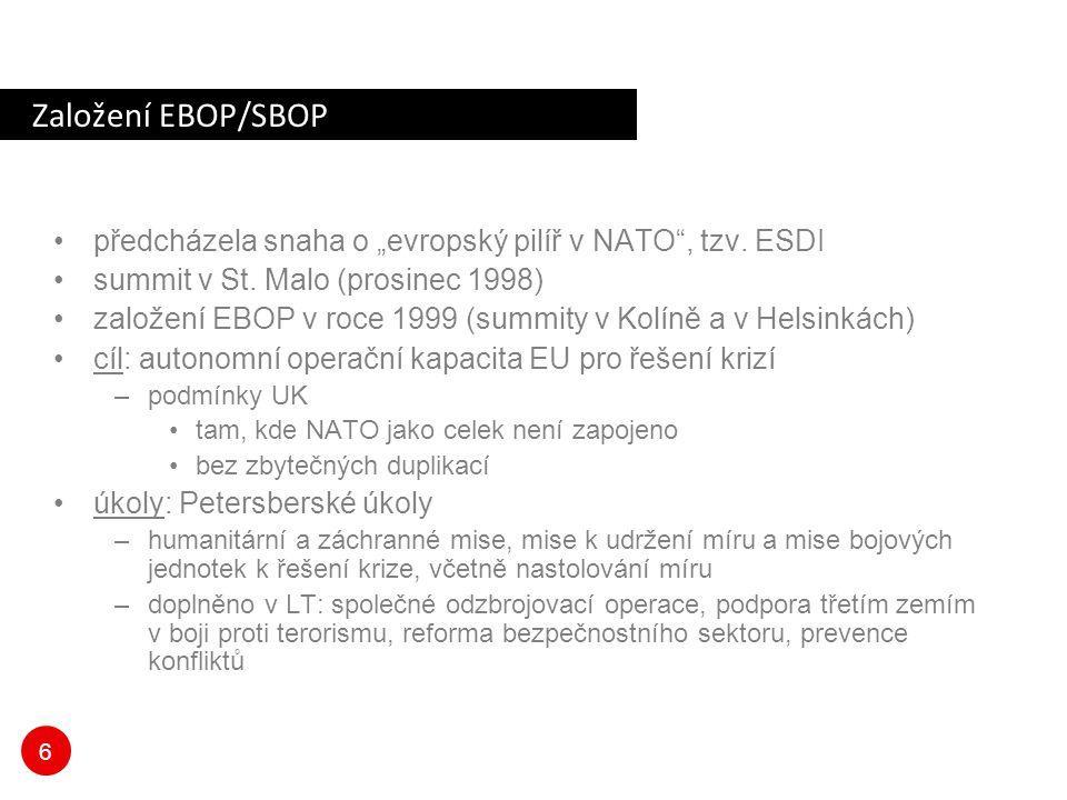 """6 Založení EBOP/SBOP předcházela snaha o """"evropský pilíř v NATO"""", tzv. ESDI summit v St. Malo (prosinec 1998) založení EBOP v roce 1999 (summity v Kol"""