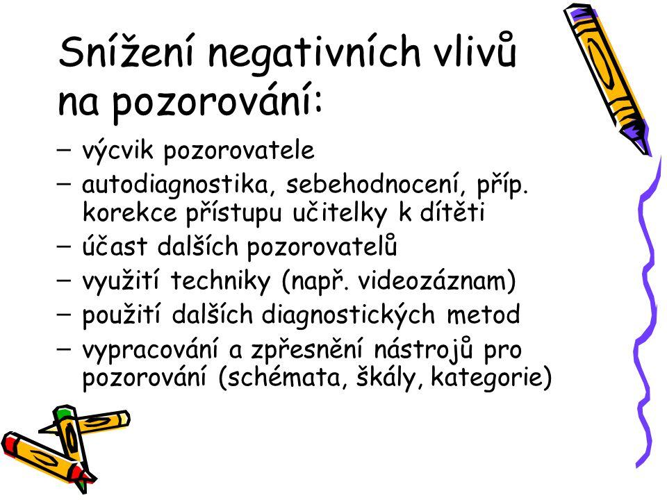 Snížení negativních vlivů na pozorování: – výcvik pozorovatele – autodiagnostika, sebehodnocení, příp. korekce přístupu učitelky k dítěti – účast dalš