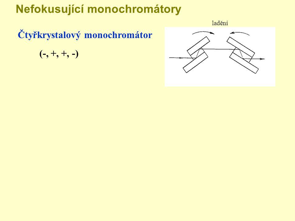 Nefokusující monochromátory Čtyřkrystalový monochromátor (-, +, +, -) ladění