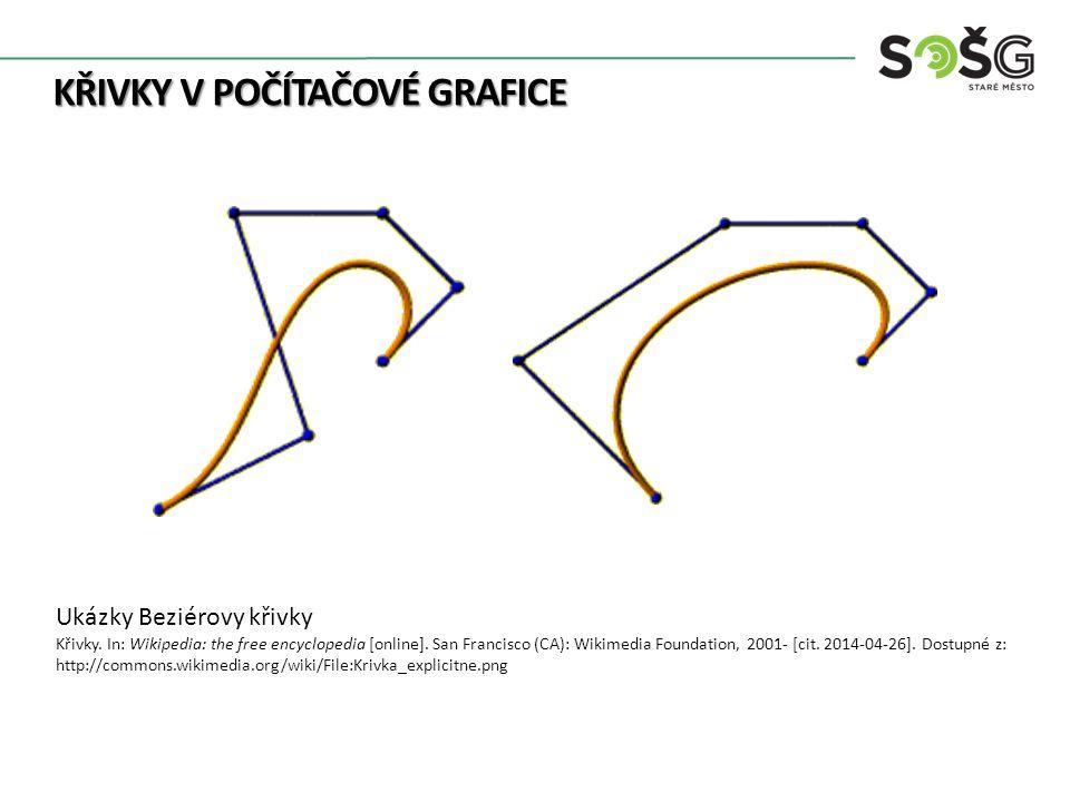 KŘIVKY V POČÍTAČOVÉ GRAFICE Ukázky Beziérovy křivky Křivky.