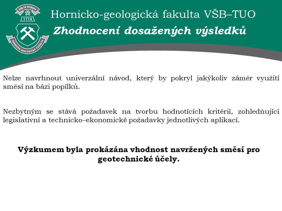 Hornicko-geologická fakulta VŠB–TUO Nelze navrhnout univerzální návod, který by pokryl jakýkoliv záměr využití směsí na bázi popílků.