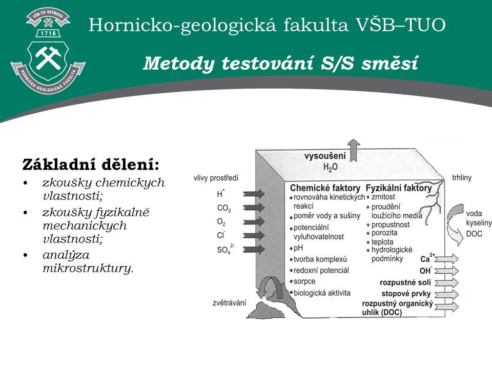 Hornicko-geologická fakulta VŠB–TUO Metody testování S/S směsí Základní dělení: zkoušky chemickych vlastnosti; zkoušky fyzikalně mechanickych vlastnosti; analýza mikrostruktury.