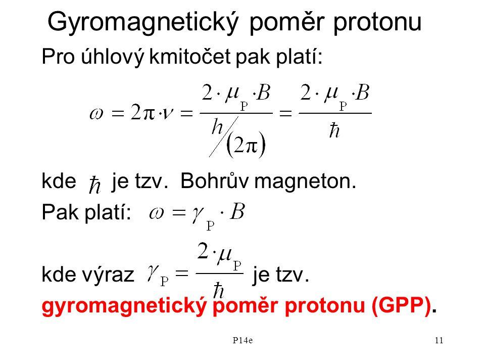 P14e11 Gyromagnetický poměr protonu Pro úhlový kmitočet pak platí: kde je tzv.