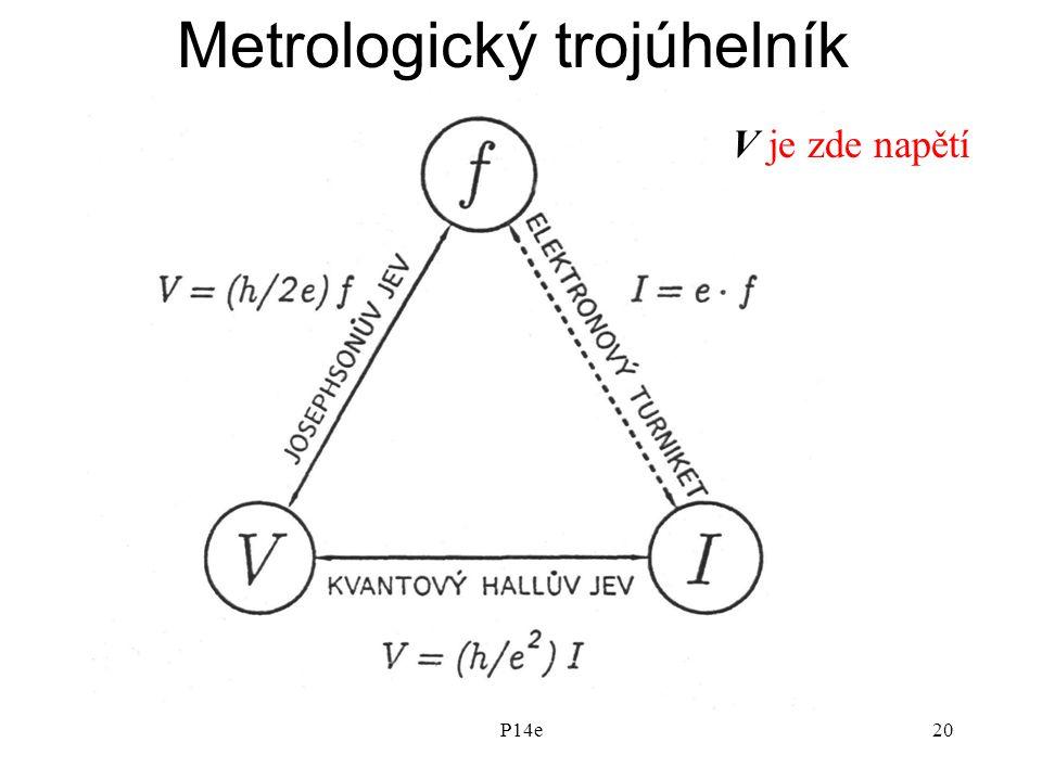 P14e20 Metrologický trojúhelník V je zde napětí
