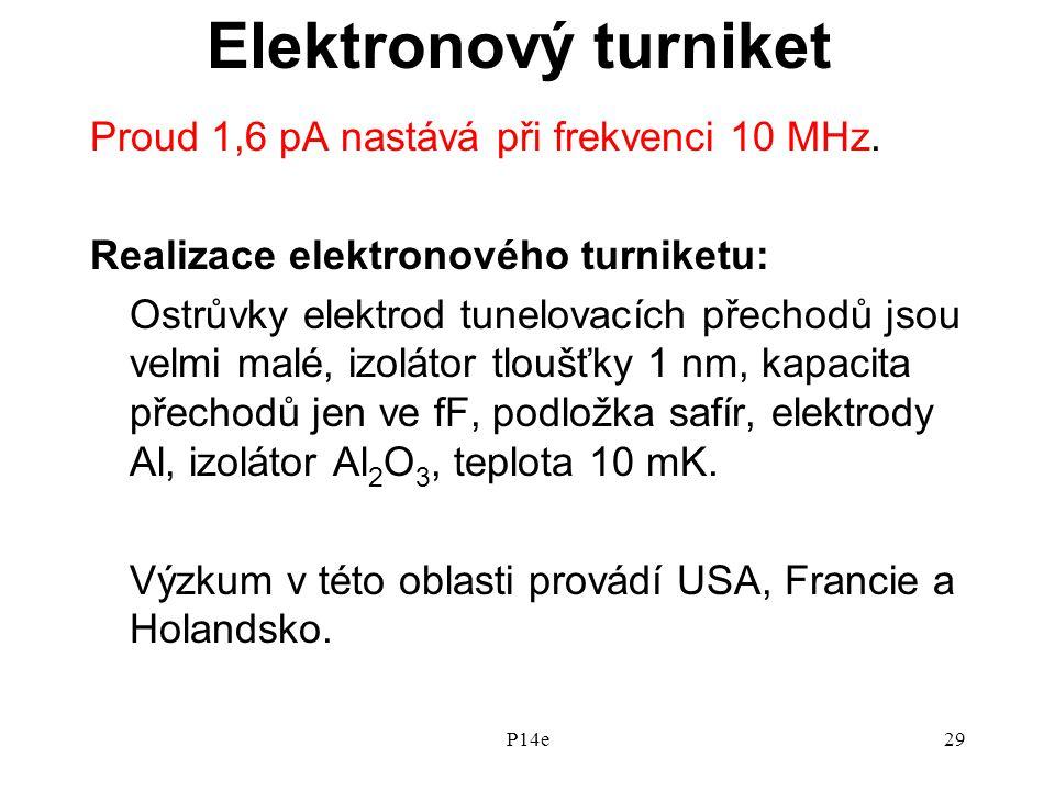 P14e29 Elektronový turniket Proud 1,6 pA nastává při frekvenci 10 MHz.
