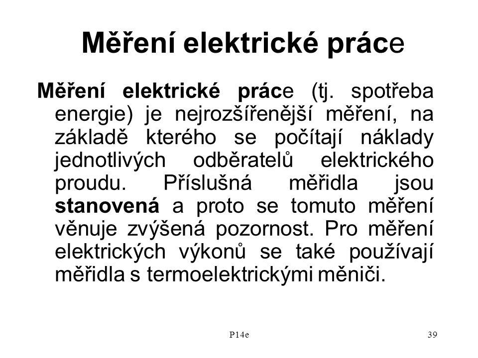 P14e39 Měření elektrické práce Měření elektrické práce (tj.