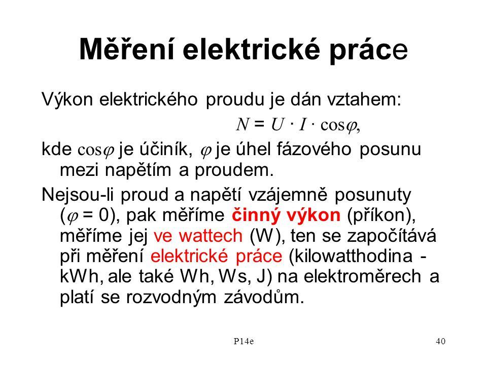 P14e40 Měření elektrické práce Výkon elektrického proudu je dán vztahem: N = U · I · cos , kde cos  je účiník,  je úhel fázového posunu mezi napětím a proudem.