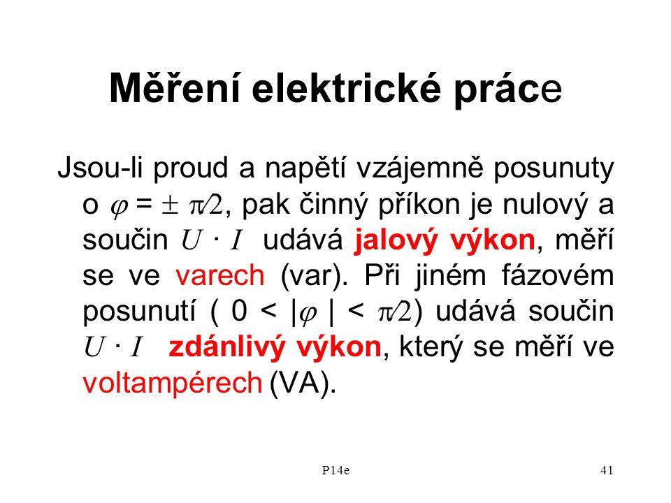 P14e41 Měření elektrické práce Jsou-li proud a napětí vzájemně posunuty o  =  , pak činný příkon je nulový a součin U · I udává jalový výkon, měří se ve varech (var).