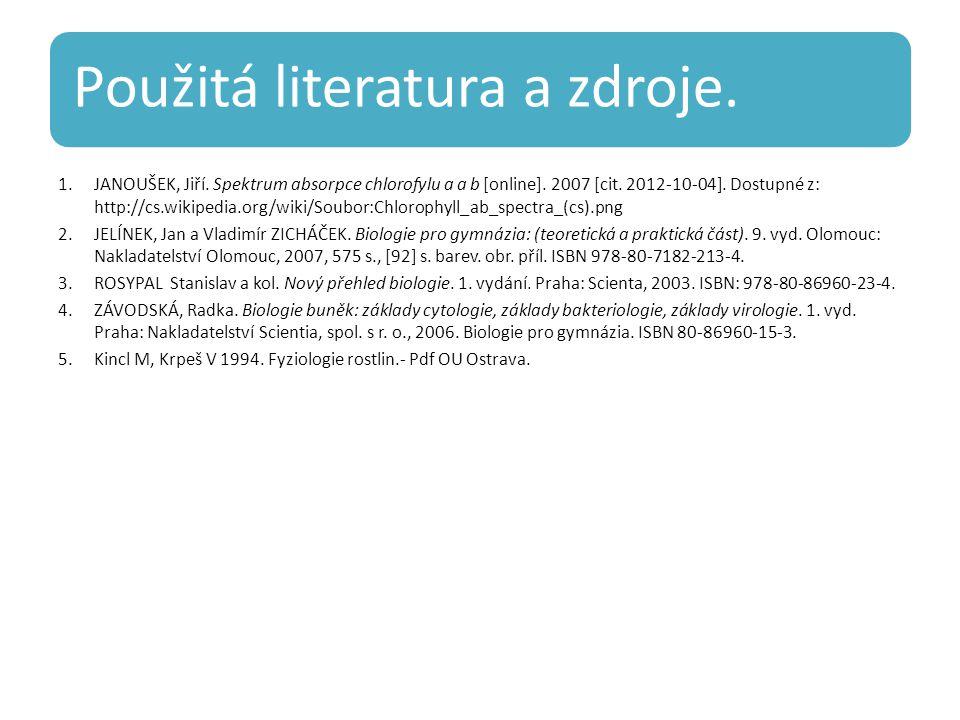 Použitá literatura a zdroje. 1.JANOUŠEK, Jiří. Spektrum absorpce chlorofylu a a b [online].