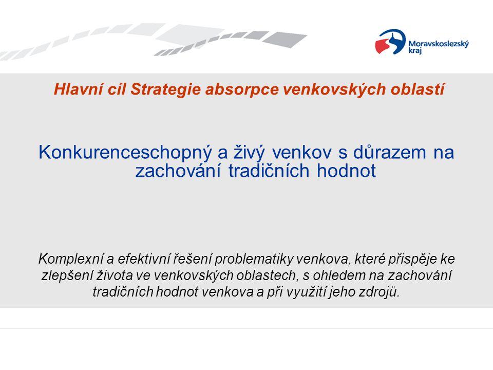 Hlavní cíl Strategie absorpce venkovských oblastí Konkurenceschopný a živý venkov s důrazem na zachování tradičních hodnot Komplexní a efektivní řešen