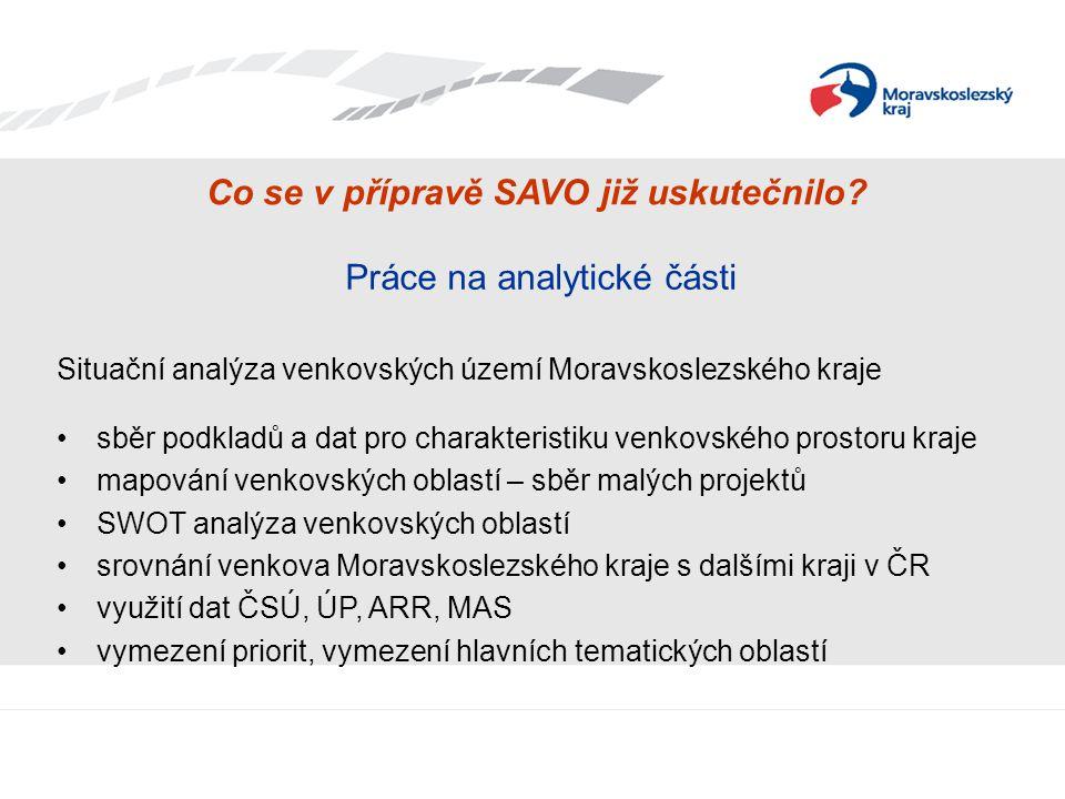 Co se v přípravě SAVO již uskutečnilo? Práce na analytické části Situační analýza venkovských území Moravskoslezského kraje sběr podkladů a dat pro ch