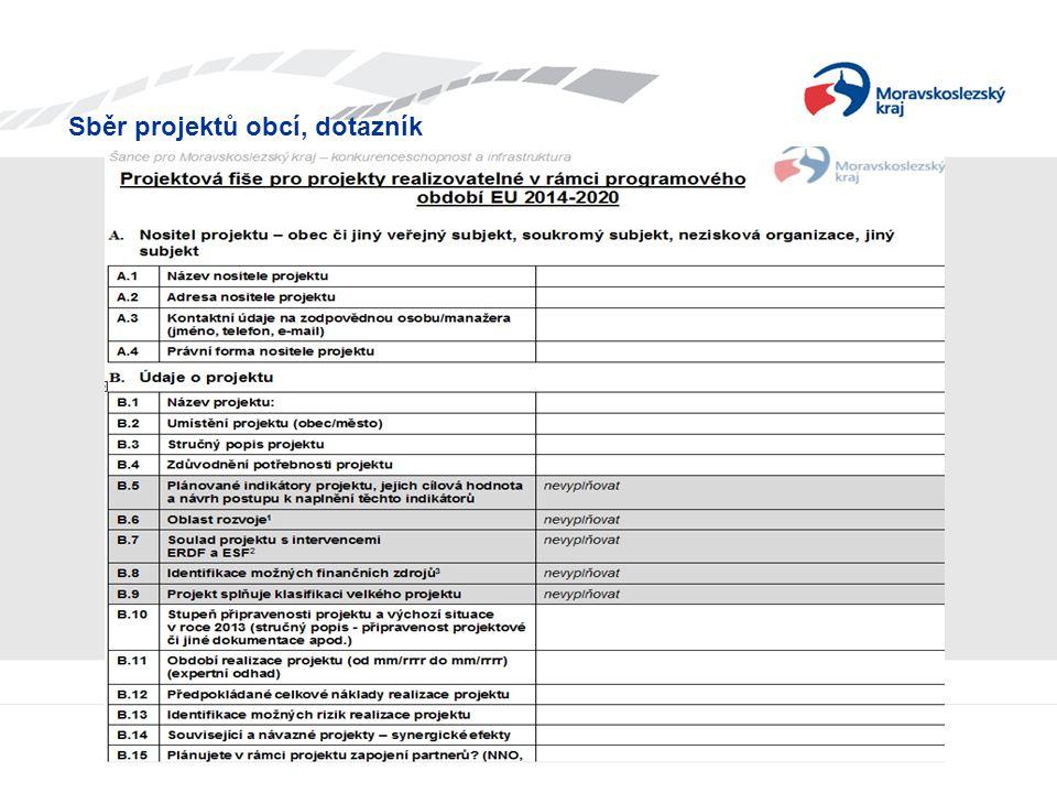 Sběr projektů obcí, dotazník