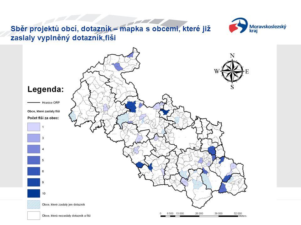 Sběr projektů obcí, dotazník – mapka s obcemi, které již zaslaly vyplněný dotazník,fiši