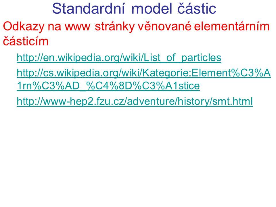 Standardní model částic Odkazy na www stránky věnované elementárním částicím http://en.wikipedia.org/wiki/List_of_particles http://cs.wikipedia.org/wi