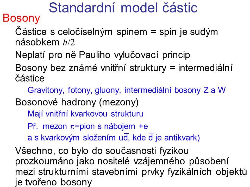 Standardní model částic Bosony Částice s celočíselným spinem = spin je sudým násobkem ħ/2 Neplatí pro ně Pauliho vylučovací princip Bosony bez známé v