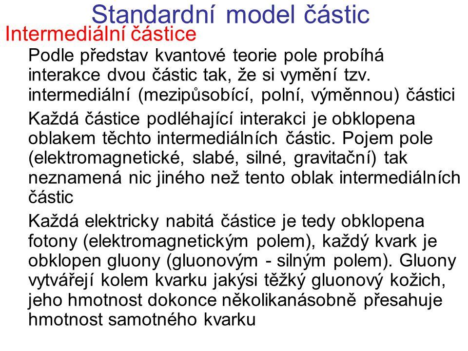 Standardní model částic Fyzikální objekty - strukturní stavební prvky (fermiony) {látka} - nositelé vzájemného působení mezi stavebními prvky = intermediální částice (bosony) {pole} Struktury nejnižšího řádu (krátkodosahové) Fundamentální silná interakce Zodpovědná za stabilitu nukleonů - tj.