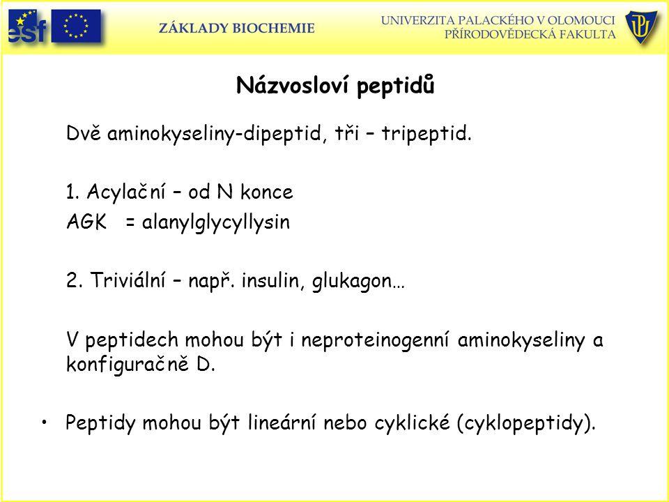 Názvosloví peptidů Dvě aminokyseliny-dipeptid, tři – tripeptid.