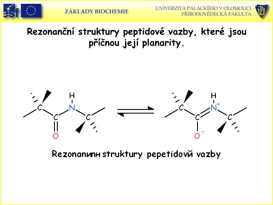 Rezonanční struktury peptidové vazby, které jsou příčnou její planarity.