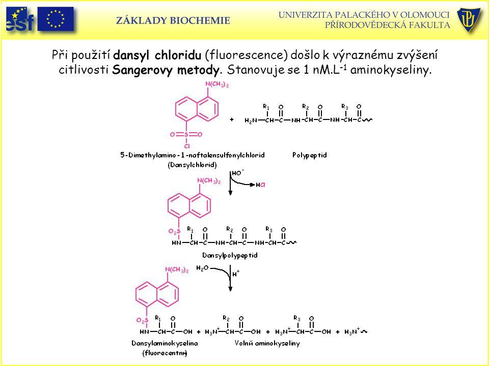 Při použití dansyl chloridu (fluorescence) došlo k výraznému zvýšení citlivosti Sangerovy metody.