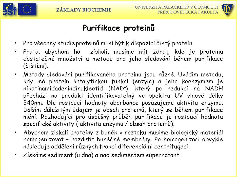 Purifikace proteinů Pro všechny studie proteinů musí být k dispozici čistý protein.