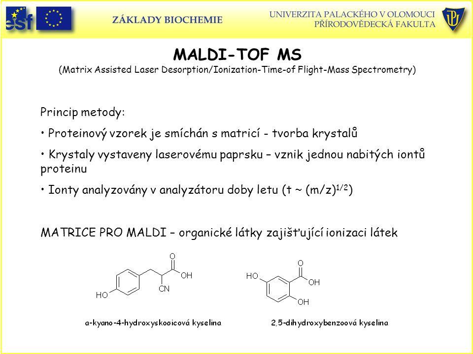 MALDI-TOF MS (Matrix Assisted Laser Desorption/Ionization-Time-of Flight-Mass Spectrometry) Princip metody: Proteinový vzorek je smíchán s matricí - tvorba krystalů Krystaly vystaveny laserovému paprsku – vznik jednou nabitých iontů proteinu Ionty analyzovány v analyzátoru doby letu (t  (m/z) 1/2 ) MATRICE PRO MALDI – organické látky zajišťující ionizaci látek