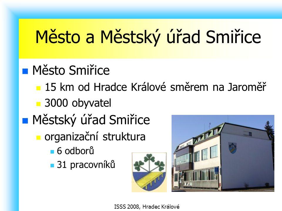 ISSS 2008, Hradec Králové Město a Městský úřad Smiřice Město Smiřice 15 km od Hradce Králové směrem na Jaroměř 3000 obyvatel Městský úřad Smiřice organizační struktura 6 odborů 31 pracovníků