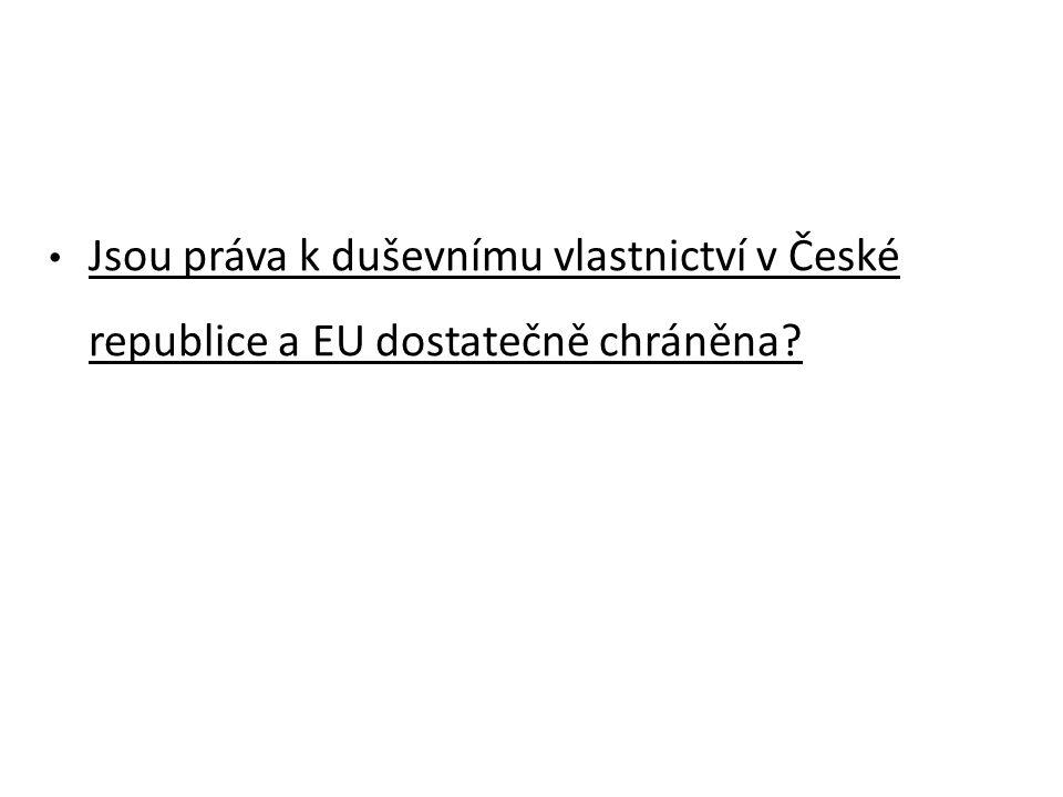 Jsou práva k duševnímu vlastnictví v České republice a EU dostatečně chráněna