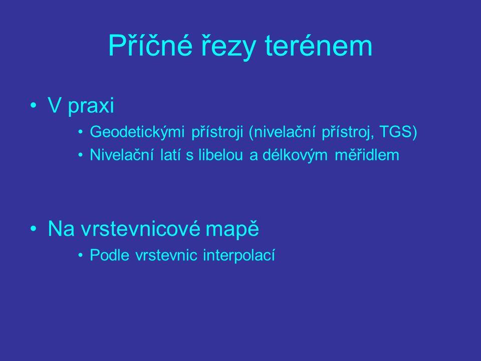 Příčné řezy terénem V praxi Geodetickými přístroji (nivelační přístroj, TGS) Nivelační latí s libelou a délkovým měřidlem Na vrstevnicové mapě Podle v