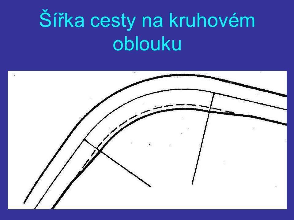 Šířka cesty na kruhovém oblouku V oblouku zabírá odvozní auto více místa Rozšíření cesty U poloměrů menších 200 m Na vnitřní X vnější straně V plné ší