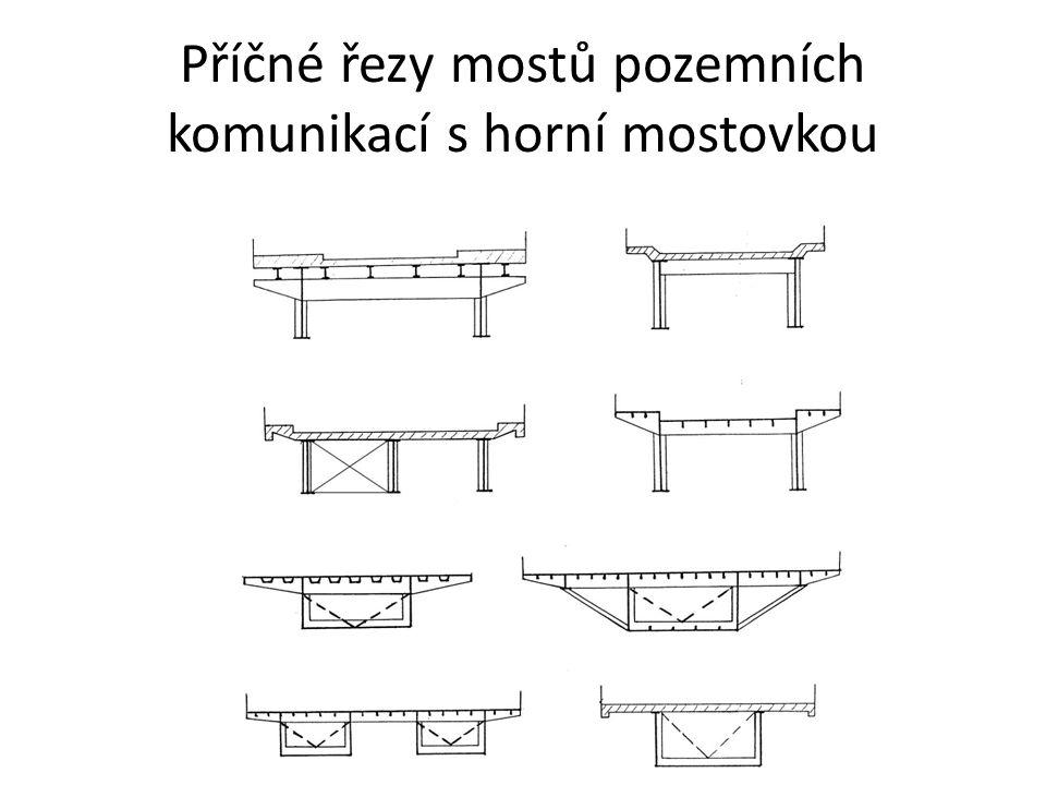 Příčné řezy mostů pozemních komunikací s dolní nebo mezilehlou mostovkou