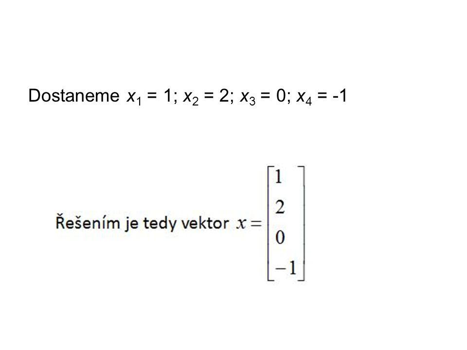 Dostaneme x 1 = 1; x 2 = 2; x 3 = 0; x 4 = -1