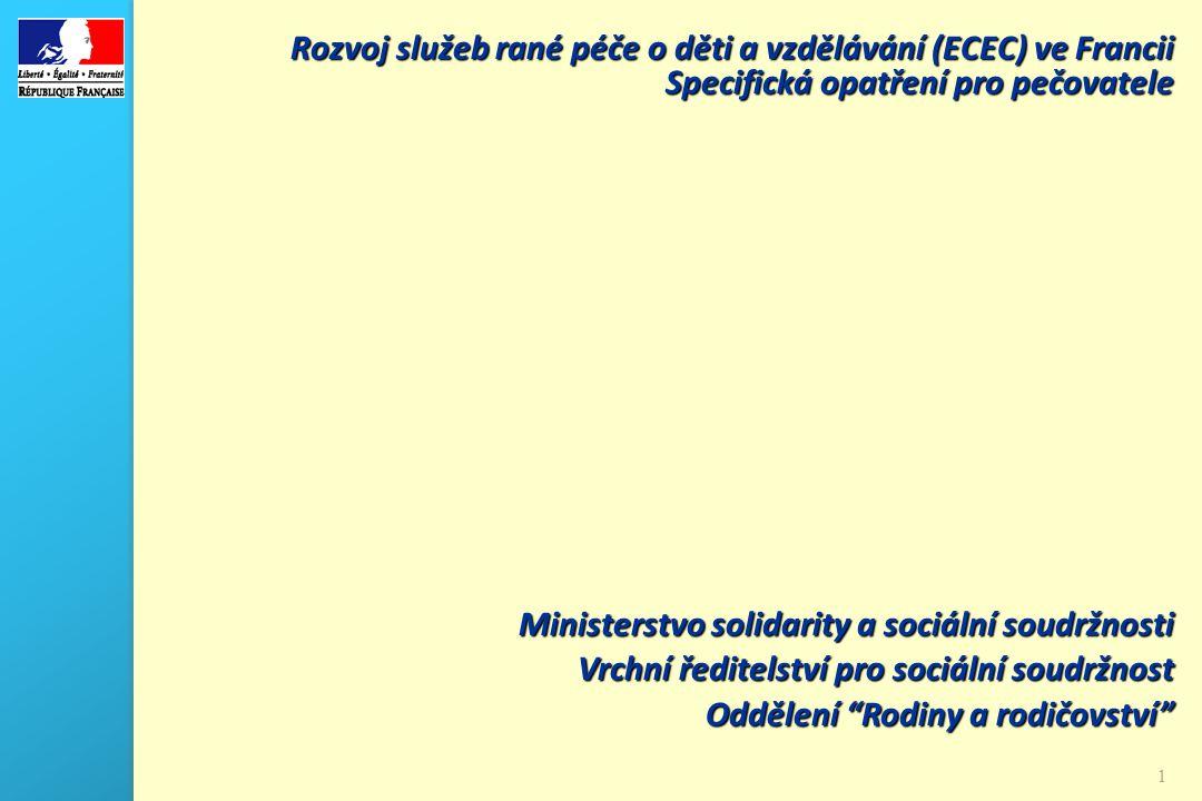 1 1 Rozvoj služeb rané péče o děti a vzdělávání (ECEC) ve Francii Specifická opatření pro pečovatele Ministerstvo solidarity a sociální soudržnosti Vrchní ředitelství pro sociální soudržnost Oddělení Rodiny a rodičovství