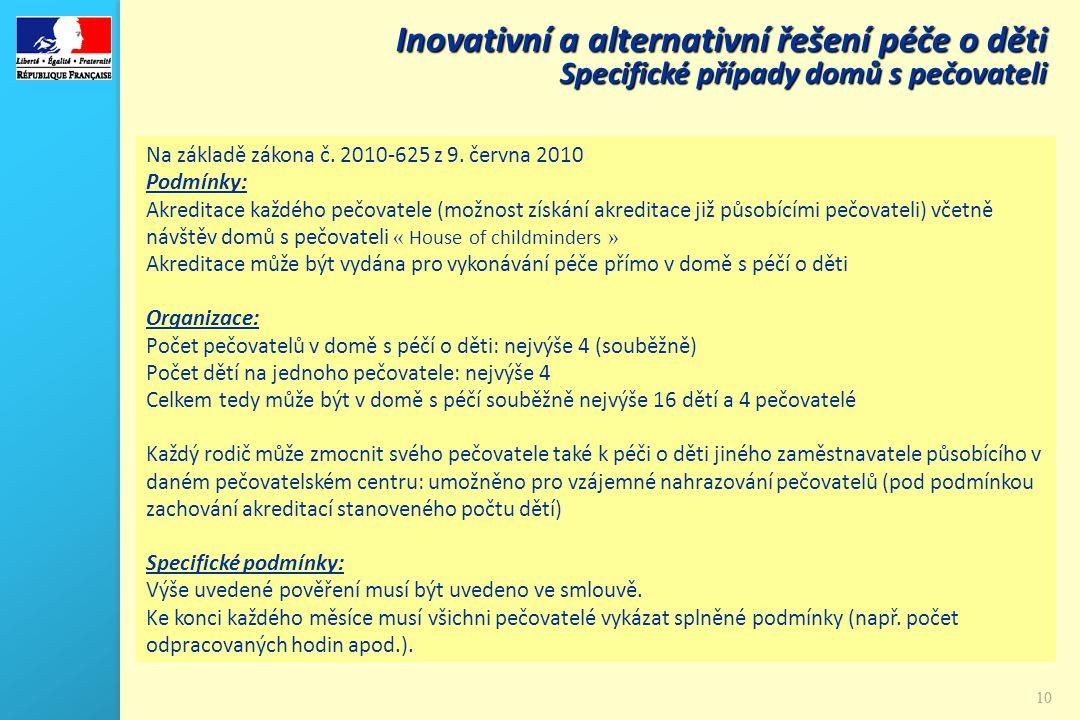 10 Na základě zákona č. 2010-625 z 9. června 2010 Podmínky: Akreditace každého pečovatele (možnost získání akreditace již působícími pečovateli) včetn