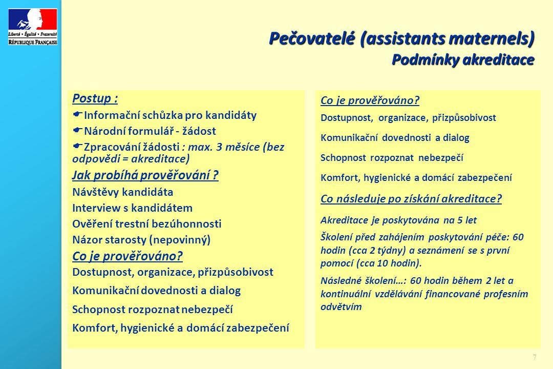 7 Pečovatelé (assistants maternels) Podmínky akreditace Postup :  Informační schůzka pro kandidáty  Národní formulář - žádost  Zpracování žádosti : max.