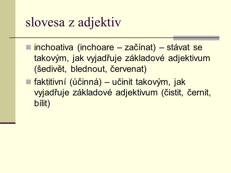 slovesa z adjektiv inchoativa (inchoare – začínat) – stávat se takovým, jak vyjadřuje základové adjektivum (šedivět, blednout, červenat) faktitivní (ú