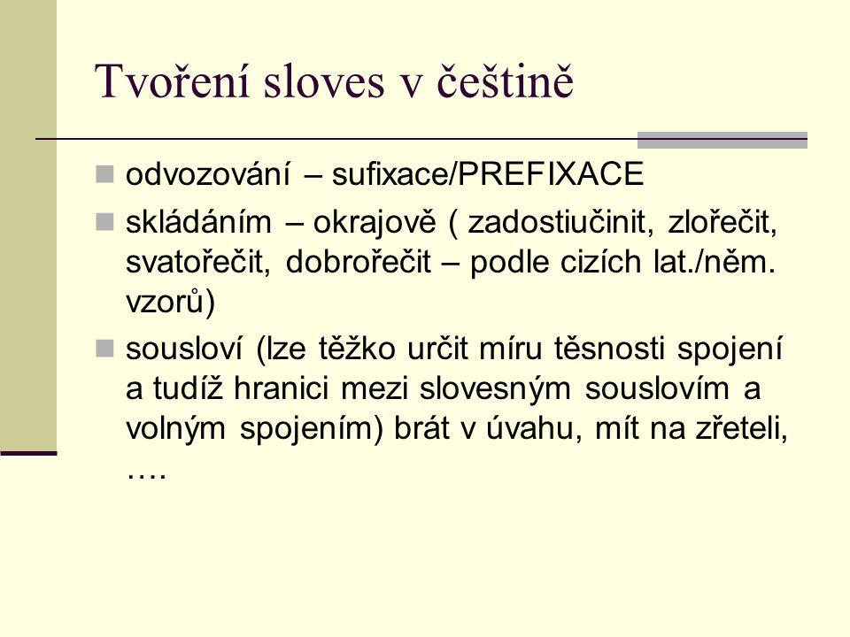 Tvoření sloves v češtině odvozování – sufixace/PREFIXACE skládáním – okrajově ( zadostiučinit, zlořečit, svatořečit, dobrořečit – podle cizích lat./ně
