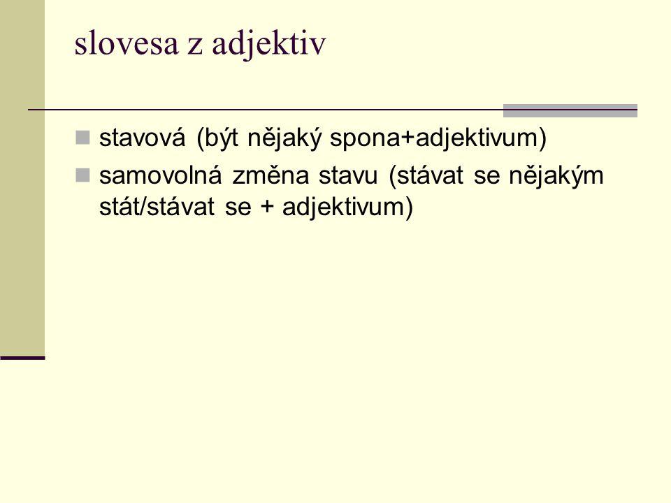 slovesa z adjektiv stavová (být nějaký spona+adjektivum) samovolná změna stavu (stávat se nějakým stát/stávat se + adjektivum)