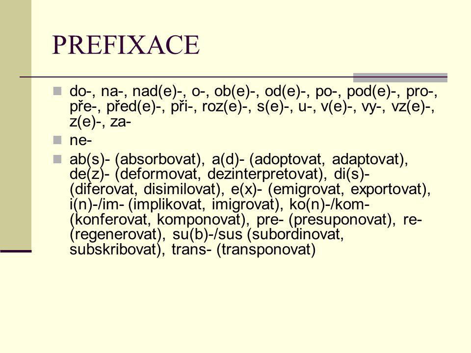 PREFIXACE do-, na-, nad(e)-, o-, ob(e)-, od(e)-, po-, pod(e)-, pro-, pře-, před(e)-, při-, roz(e)-, s(e)-, u-, v(e)-, vy-, vz(e)-, z(e)-, za- ne- ab(s