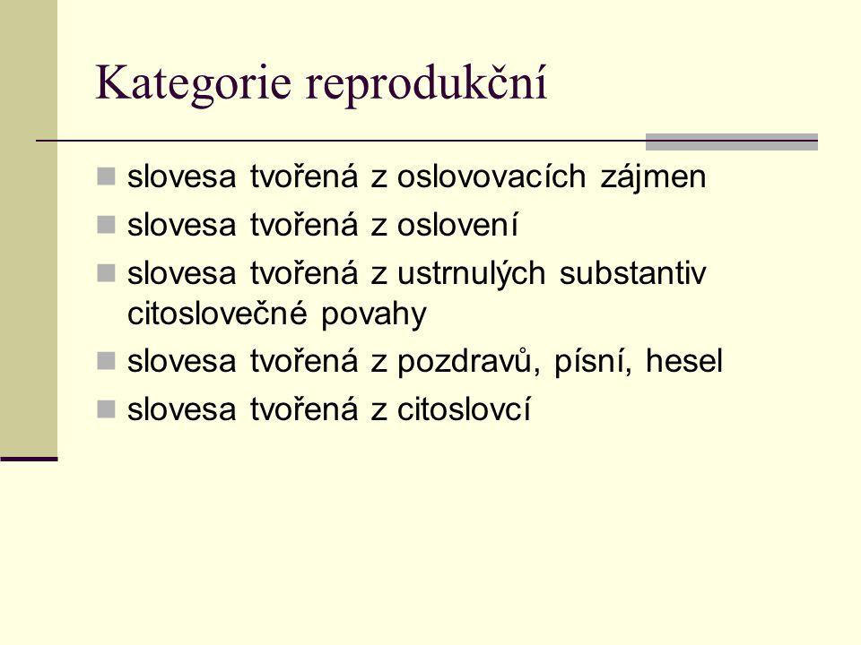 Kategorie reprodukční slovesa tvořená z oslovovacích zájmen slovesa tvořená z oslovení slovesa tvořená z ustrnulých substantiv citoslovečné povahy slo